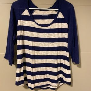Express Navy & White striped baseball tee size L